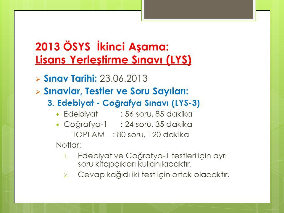 2013 ÖSYS İkinci Aşama: Lisans Yerleştirme Sınavı (LYS)  Sınav Tarihi: 23.06.2013  Sınavlar, Testler ve Soru Sayıları: 3.