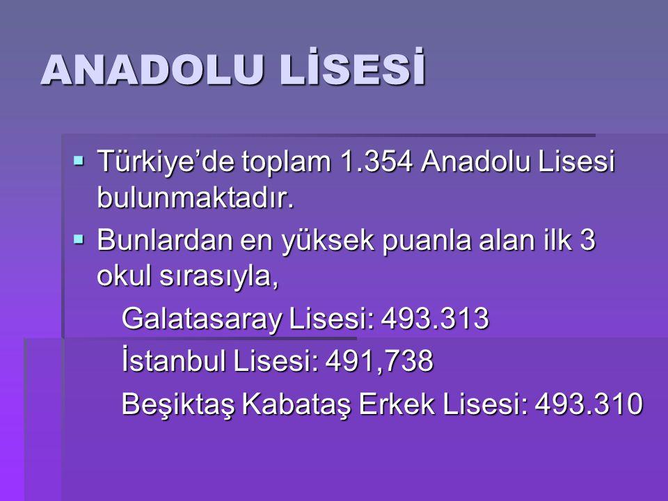  Türkiye'de toplam 1.354 Anadolu Lisesi bulunmaktadır.  Bunlardan en yüksek puanla alan ilk 3 okul sırasıyla, Galatasaray Lisesi: 493.313 Galatasara