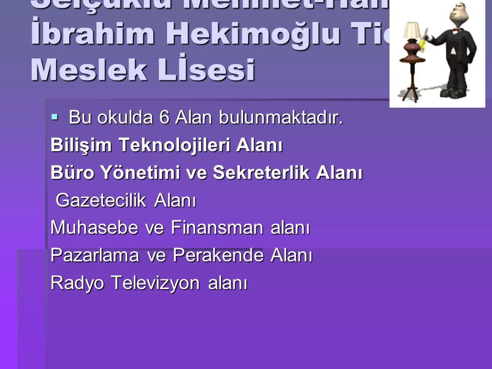 Selçuklu Mehmet-Halil İbrahim Hekimoğlu Ticaret Meslek Lİsesi  Bu okulda 6 Alan bulunmaktadır. Bilişim Teknolojileri Alanı Büro Yönetimi ve Sekreterl