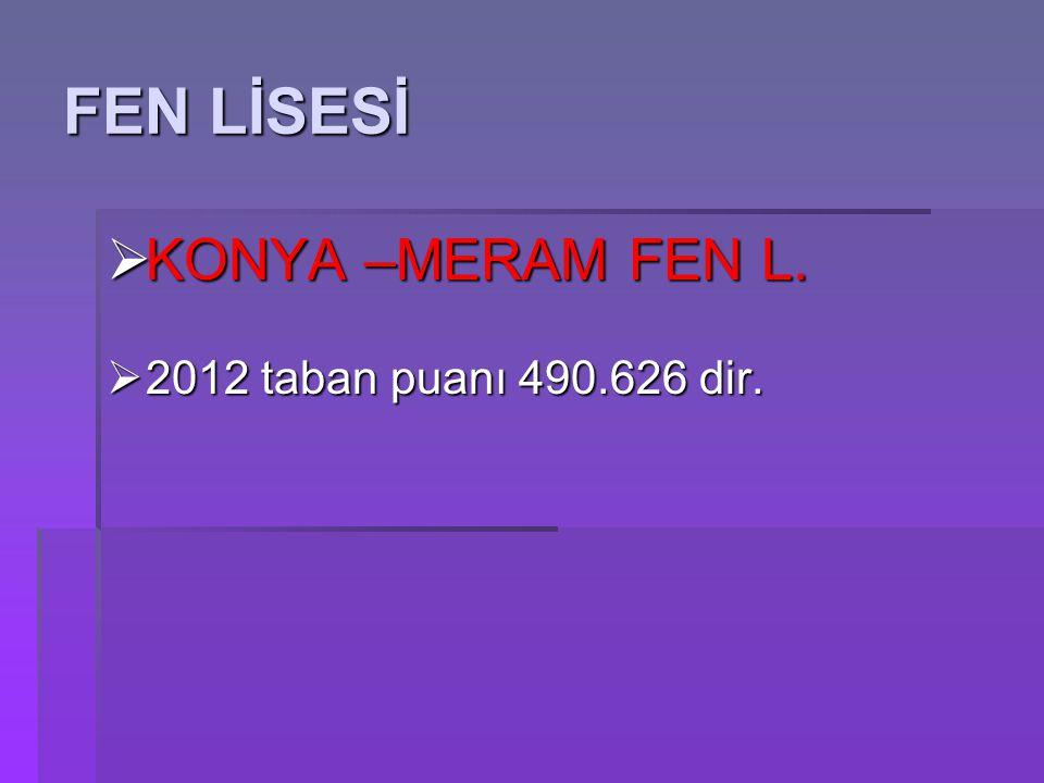 KONYA –MERAM FEN L.  2012 taban puanı 490.626 dir.