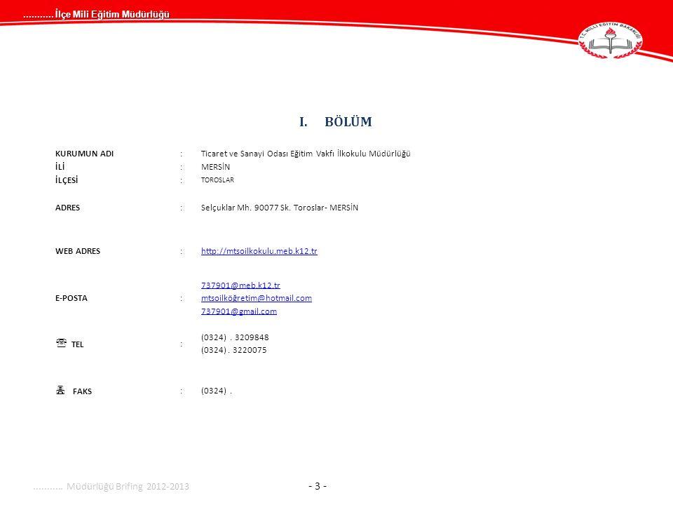 ...........İlçe Mili Eğitim Müdürlüğü........... Müdürlüğü Brifing 2012-2013 - 14 -...........