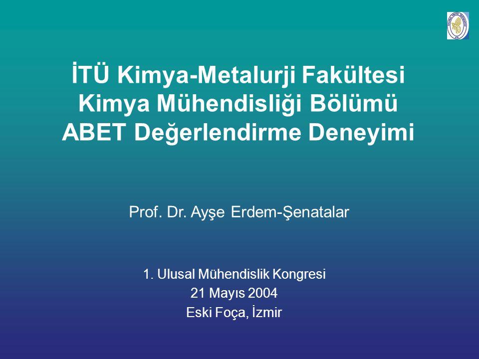 İTÜ Kimya-Metalurji Fakültesi Kimya Mühendisliği Bölümü ABET Değerlendirme Deneyimi Prof.