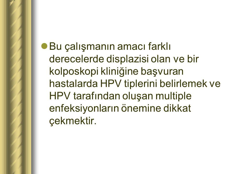 Bu çalışmanın amacı farklı derecelerde displazisi olan ve bir kolposkopi kliniğine başvuran hastalarda HPV tiplerini belirlemek ve HPV tarafından oluş