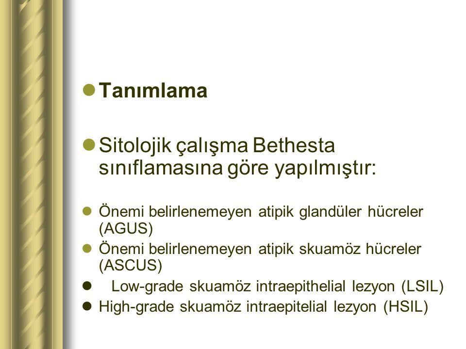 Tanımlama Sitolojik çalışma Bethesta sınıflamasına göre yapılmıştır: Önemi belirlenemeyen atipik glandüler hücreler (AGUS) Önemi belirlenemeyen atipik