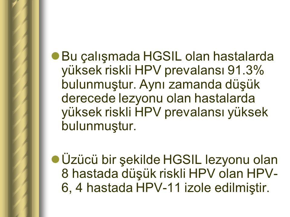 Bu çalışmada HGSIL olan hastalarda yüksek riskli HPV prevalansı 91.3% bulunmuştur. Aynı zamanda düşük derecede lezyonu olan hastalarda yüksek riskli H