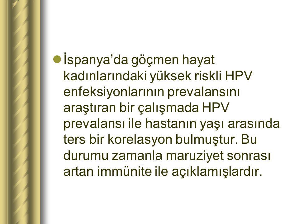 İspanya'da göçmen hayat kadınlarındaki yüksek riskli HPV enfeksiyonlarının prevalansını araştıran bir çalışmada HPV prevalansı ile hastanın yaşı arası