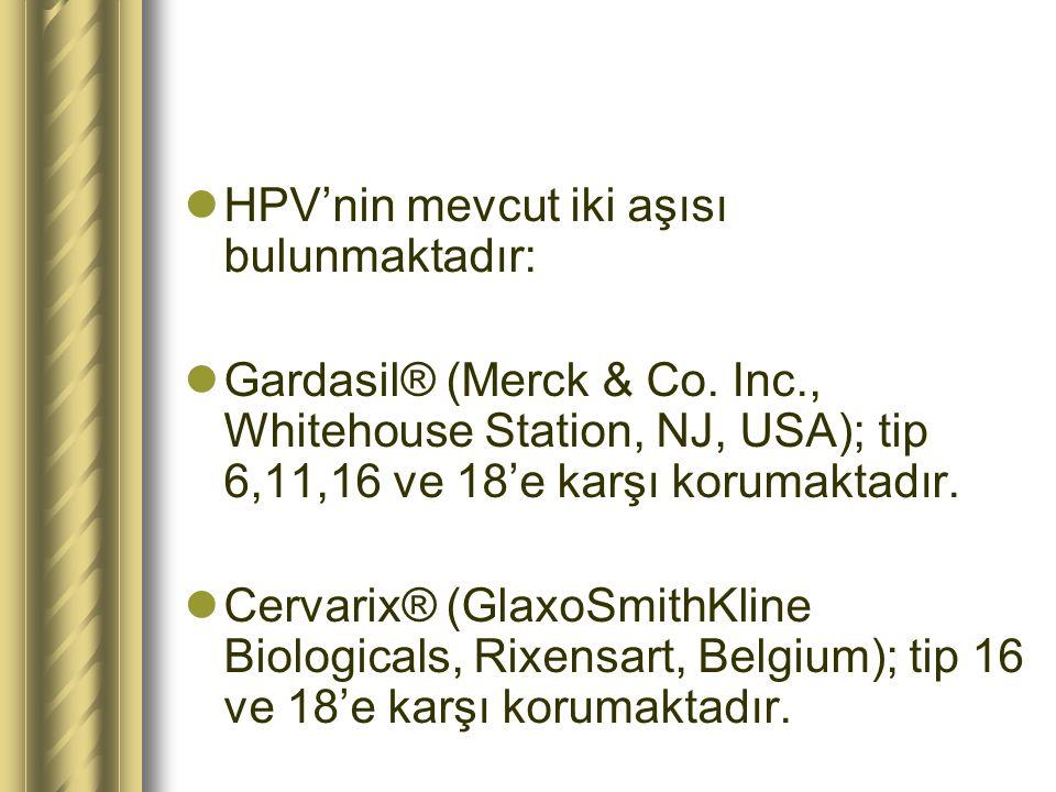HPV'nin mevcut iki aşısı bulunmaktadır: Gardasil® (Merck & Co. Inc., Whitehouse Station, NJ, USA); tip 6,11,16 ve 18'e karşı korumaktadır. Cervarix® (