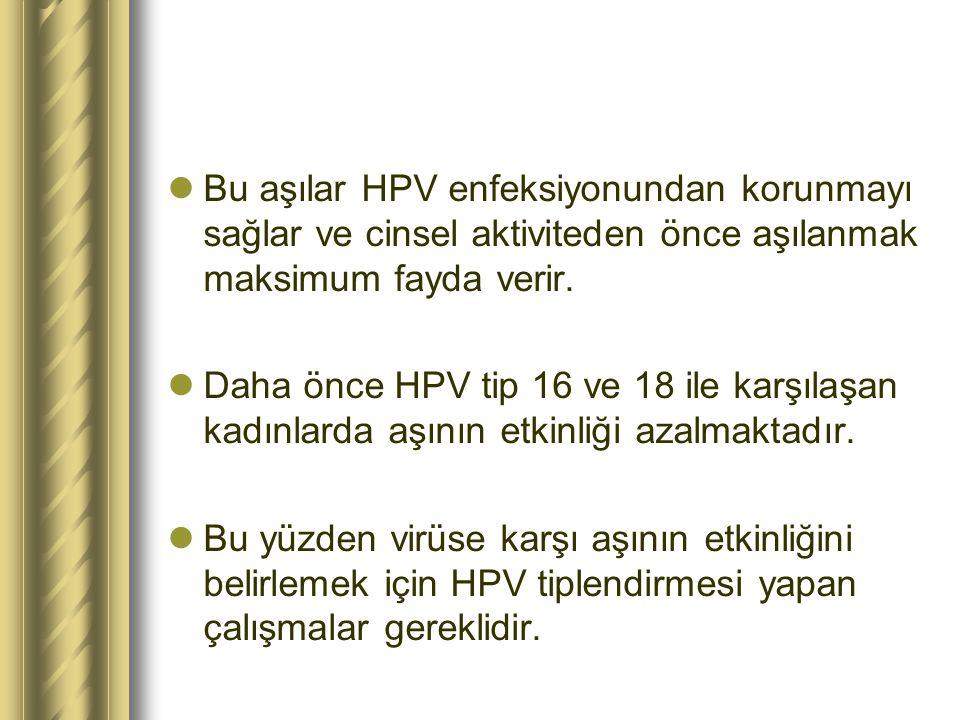 Bu aşılar HPV enfeksiyonundan korunmayı sağlar ve cinsel aktiviteden önce aşılanmak maksimum fayda verir. Daha önce HPV tip 16 ve 18 ile karşılaşan ka