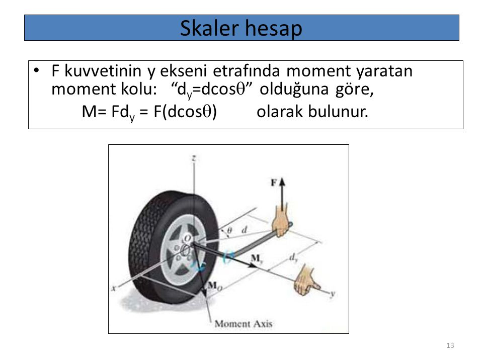 """13 Skaler hesap F kuvvetinin y ekseni etrafında moment yaratan moment kolu: """"d y =dcos  """" olduğuna göre, M= Fd y = F(dcos  ) olarak bulunur."""