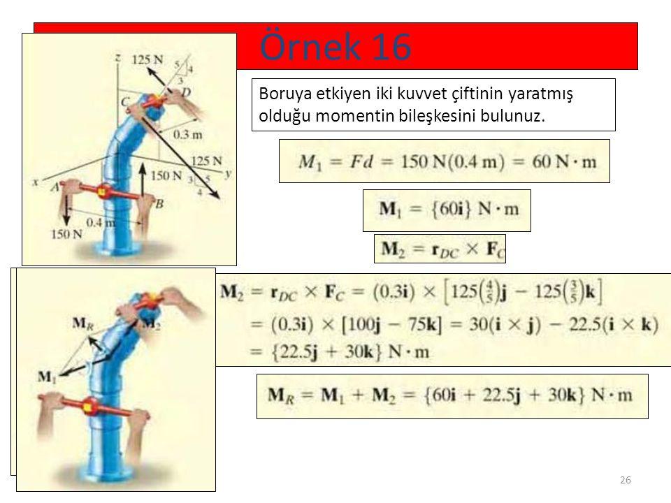 26 Örnek 16 Boruya etkiyen iki kuvvet çiftinin yaratmış olduğu momentin bileşkesini bulunuz.