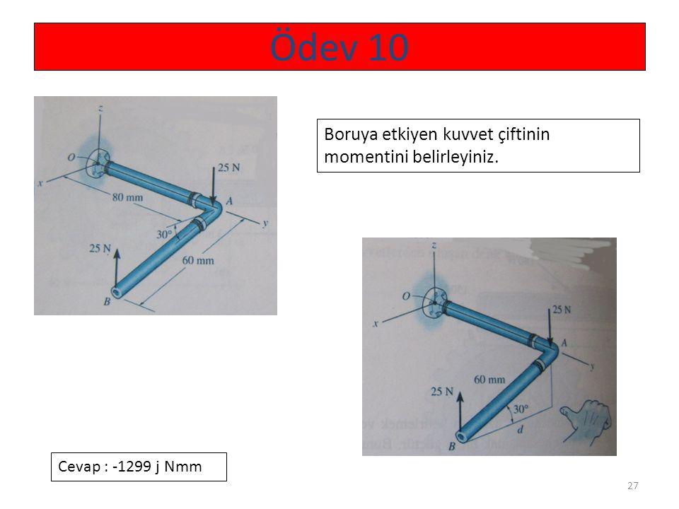 27 Ödev 10 Boruya etkiyen kuvvet çiftinin momentini belirleyiniz. Cevap : -1299 j Nmm