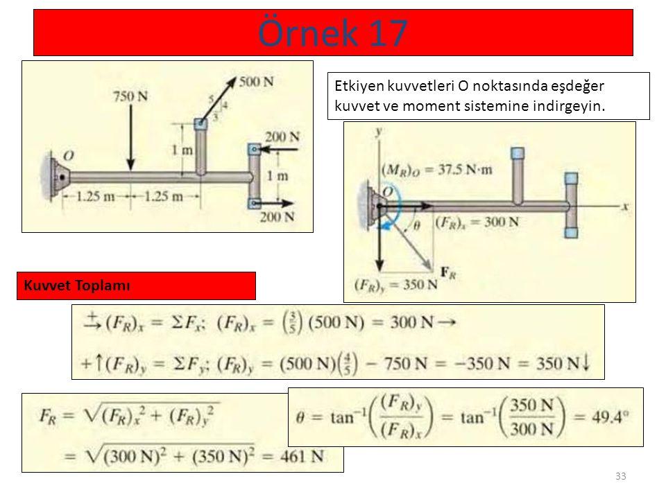 33 Örnek 17 Etkiyen kuvvetleri O noktasında eşdeğer kuvvet ve moment sistemine indirgeyin. Kuvvet Toplamı