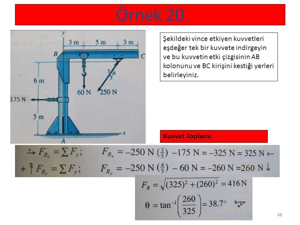 48 Örnek 20 175 N Şekildeki vince etkiyen kuvvetleri eşdeğer tek bir kuvvete indirgeyin ve bu kuvvetin etki çizgisinin AB kolonunu ve BC kirişini kest