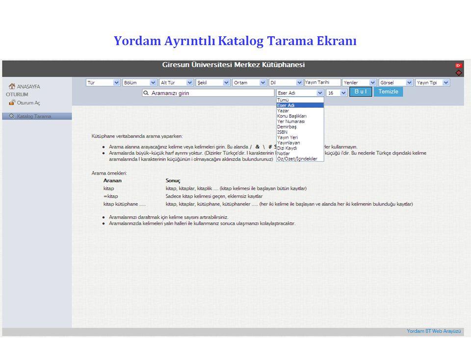 Yordam-Katalog Tarama Taramak istenen yayınla ilgili anahtar sözcük bu alana yazılır ve yandaki kutucuktan ilgili alan seçilerek tarama gerçekleştirilir.