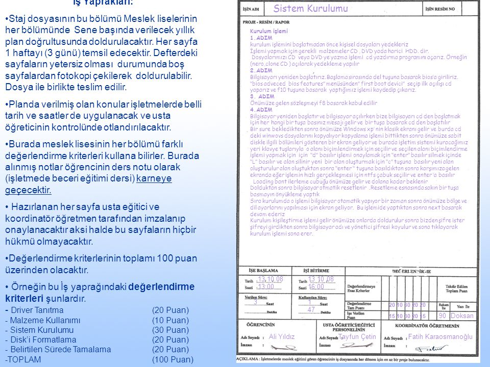 13.10.08 13:00 13 10 08 16:00 31 47 90Doksan Ali YıldızTayfun ÇetinFatih Karaosmanoğlu Sistem Kurulumu İş Yaprakları: Staj dosyasının bu bölümü Meslek