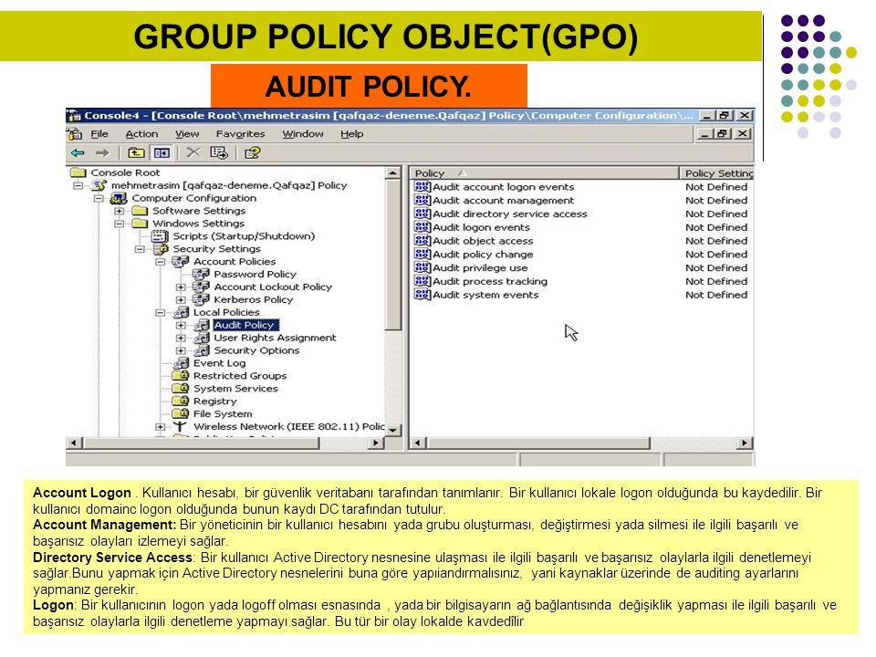 AUDIT POLICY. Account Logon. Kullanıcı hesabı, bir güvenlik veritabanı tarafından tanımlanır. Bir kullanıcı lokale logon olduğunda bu kaydedilir. Bir