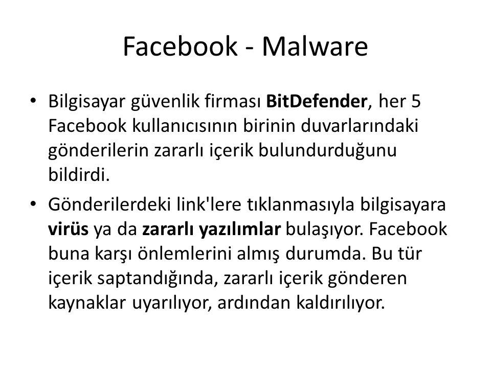 Facebook - Malware Bilgisayar güvenlik firması BitDefender, her 5 Facebook kullanıcısının birinin duvarlarındaki gönderilerin zararlı içerik bulundurd