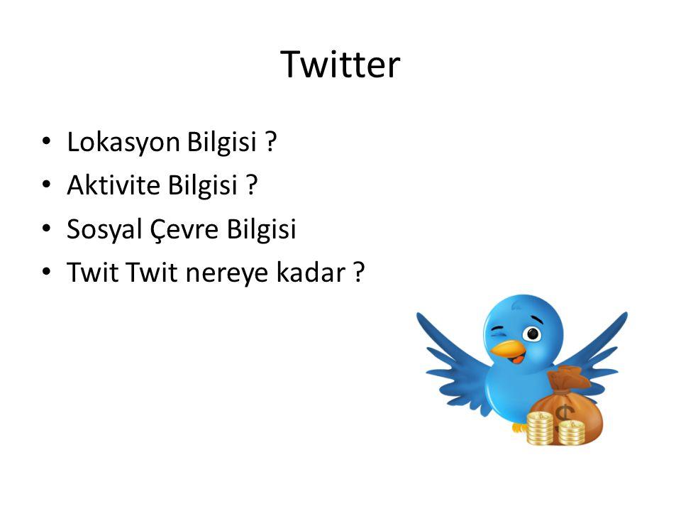 Twitter Lokasyon Bilgisi ? Aktivite Bilgisi ? Sosyal Çevre Bilgisi Twit Twit nereye kadar ?