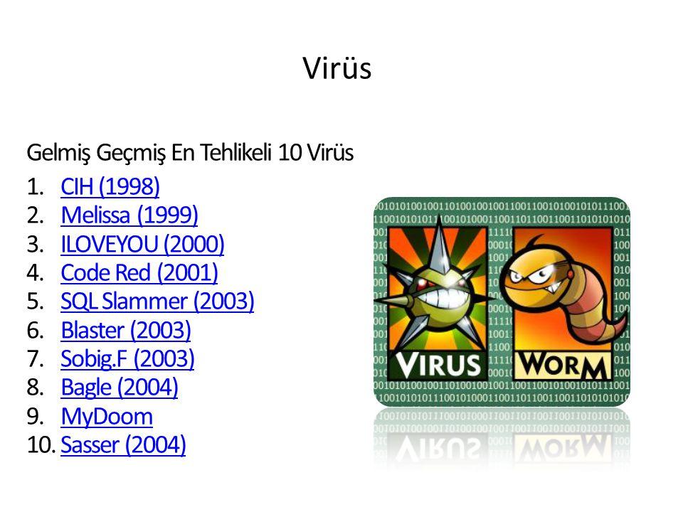 Virüs Gelmiş Geçmiş En Tehlikeli 10 Virüs 1. 1.CIH (1998)CIH (1998) 2. 2.Melissa (1999)Melissa (1999) 3. 3.ILOVEYOU (2000)ILOVEYOU (2000) 4. 4.Code Re