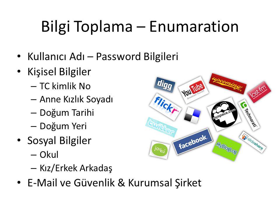 Bilgi Toplama – Enumaration Kullanıcı Adı – Password Bilgileri Kişisel Bilgiler – TC kimlik No – Anne Kızlık Soyadı – Doğum Tarihi – Doğum Yeri Sosyal