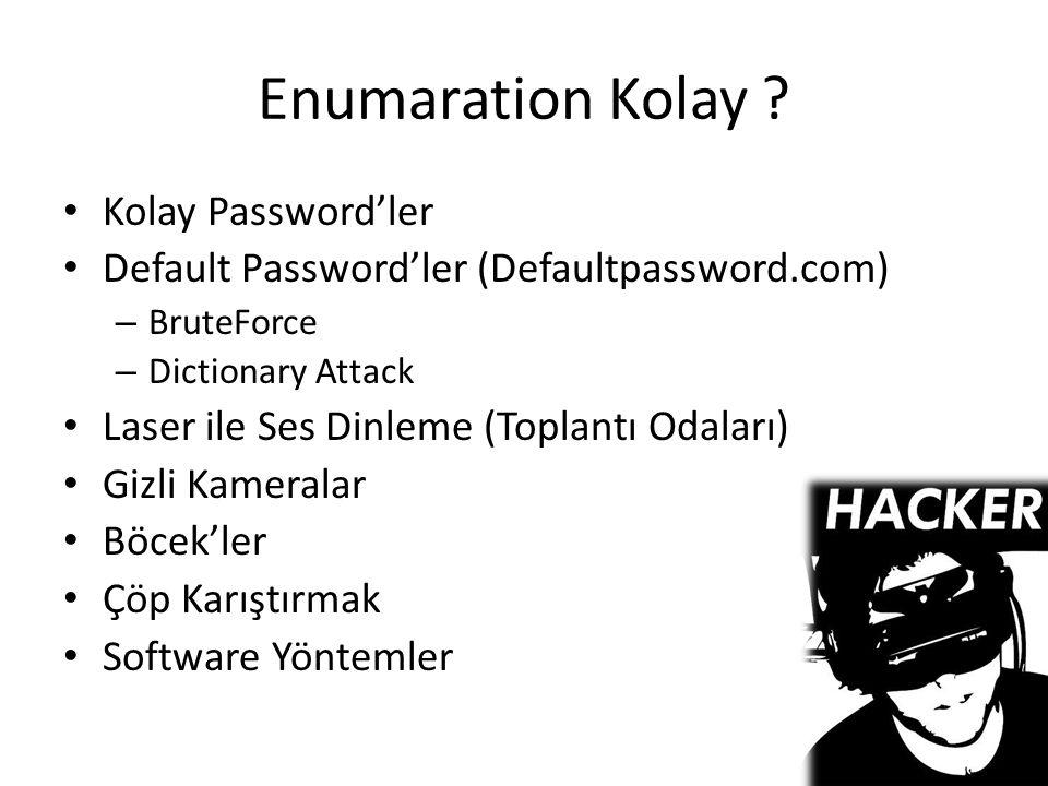 Enumaration Kolay ? Kolay Password'ler Default Password'ler (Defaultpassword.com) – BruteForce – Dictionary Attack Laser ile Ses Dinleme (Toplantı Oda
