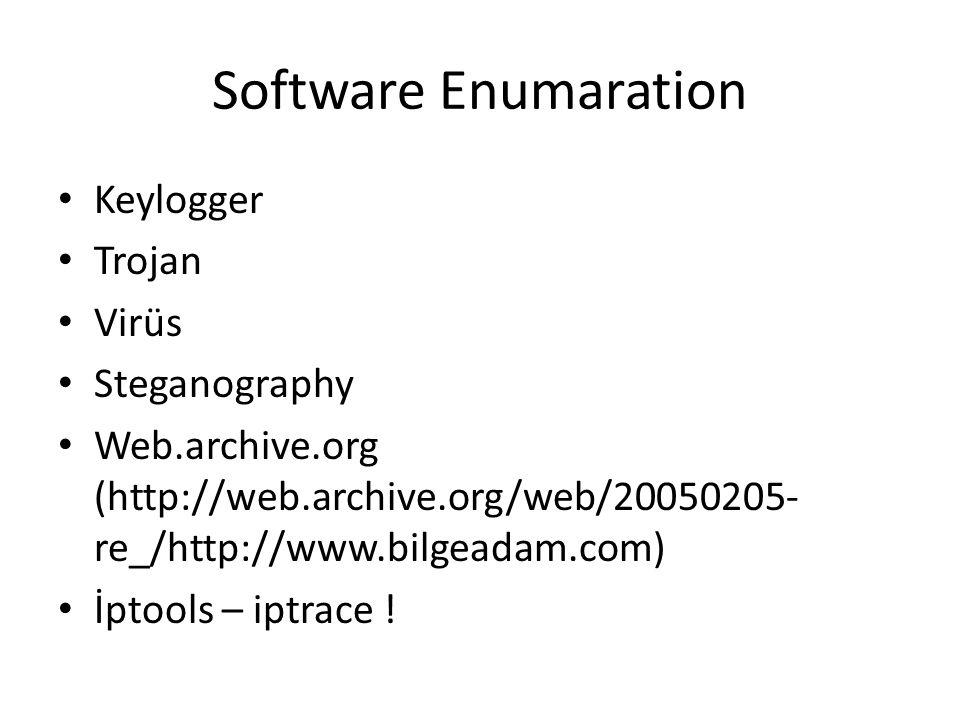 Software Enumaration Keylogger Trojan Virüs Steganography Web.archive.org (http://web.archive.org/web/20050205- re_/http://www.bilgeadam.com) İptools