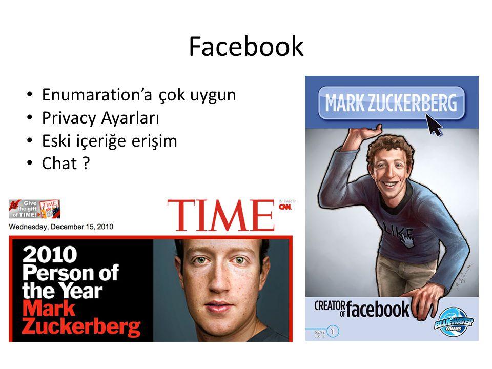 Facebook Enumaration'a çok uygun Privacy Ayarları Eski içeriğe erişim Chat ?