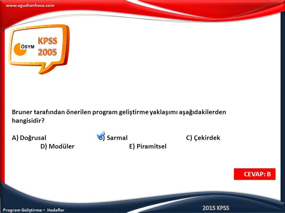 Program Geliştirme – Hedefler www.oguzhanhoca.com Bruner tarafından önerilen program geliştirme yaklaşımı aşağıdakilerden hangisidir? A) Doğrusal B) S