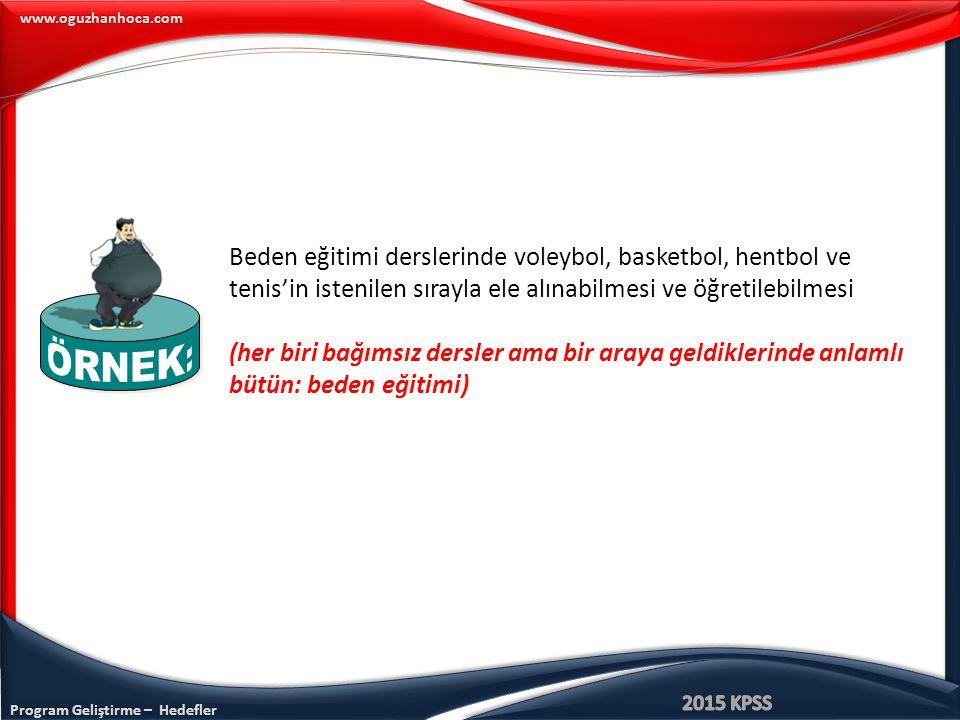 Program Geliştirme – Hedefler www.oguzhanhoca.com Beden eğitimi derslerinde voleybol, basketbol, hentbol ve tenis'in istenilen sırayla ele alınabilmes