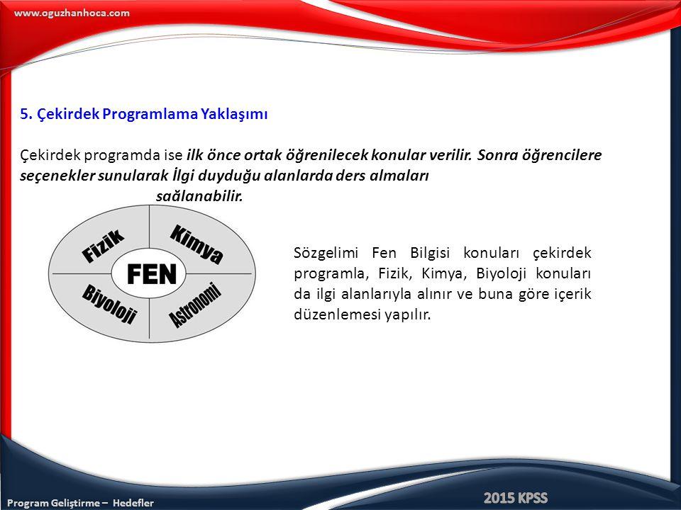 Program Geliştirme – Hedefler www.oguzhanhoca.com 5. Çekirdek Programlama Yaklaşımı Çekirdek programda ise ilk önce ortak öğrenilecek konular verilir.