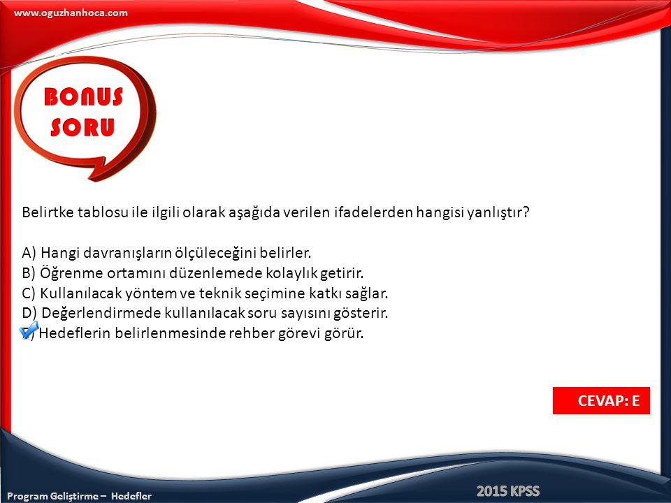 Program Geliştirme – Hedefler www.oguzhanhoca.com Belirtke tablosu ile ilgili olarak aşağıda verilen ifadelerden hangisi yanlıştır? A) Hangi davranışl