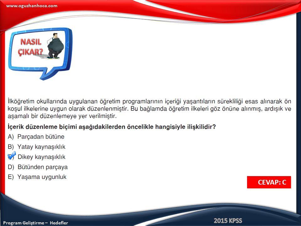 Program Geliştirme – Hedefler www.oguzhanhoca.com CEVAP: E