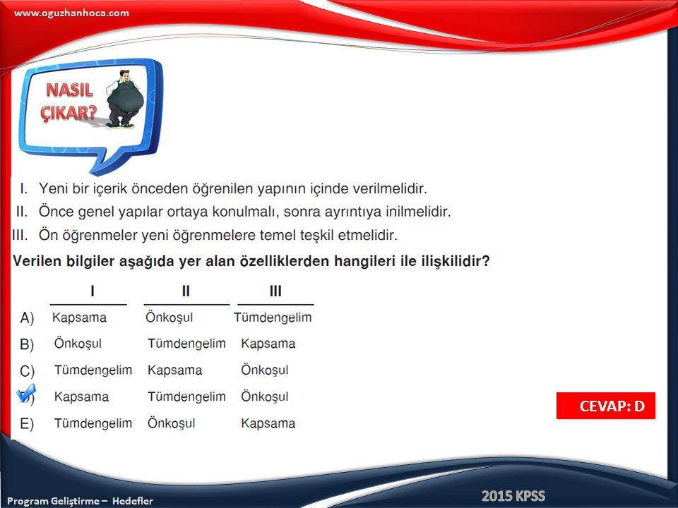 Program Geliştirme – Hedefler www.oguzhanhoca.com CEVAP: D