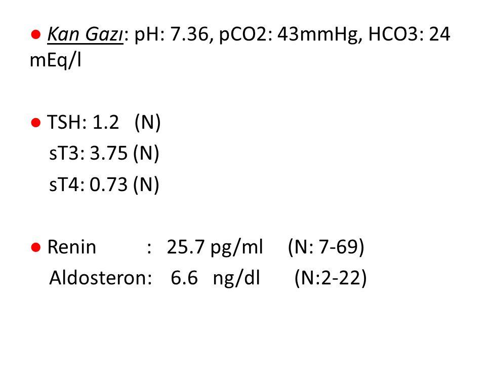 ● Kan Gazı: pH: 7.36, pCO2: 43mmHg, HCO3: 24 mEq/l ● TSH: 1.2 (N) sT3: 3.75 (N) sT4: 0.73 (N) ● Renin : 25.7 pg/ml (N: 7-69) Aldosteron: 6.6 ng/dl (N: