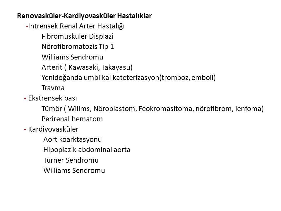 Renovasküler-Kardiyovasküler Hastalıklar -Intrensek Renal Arter Hastalığı Fibromuskuler Displazi Nörofibromatozis Tip 1 Williams Sendromu Arterit ( Ka