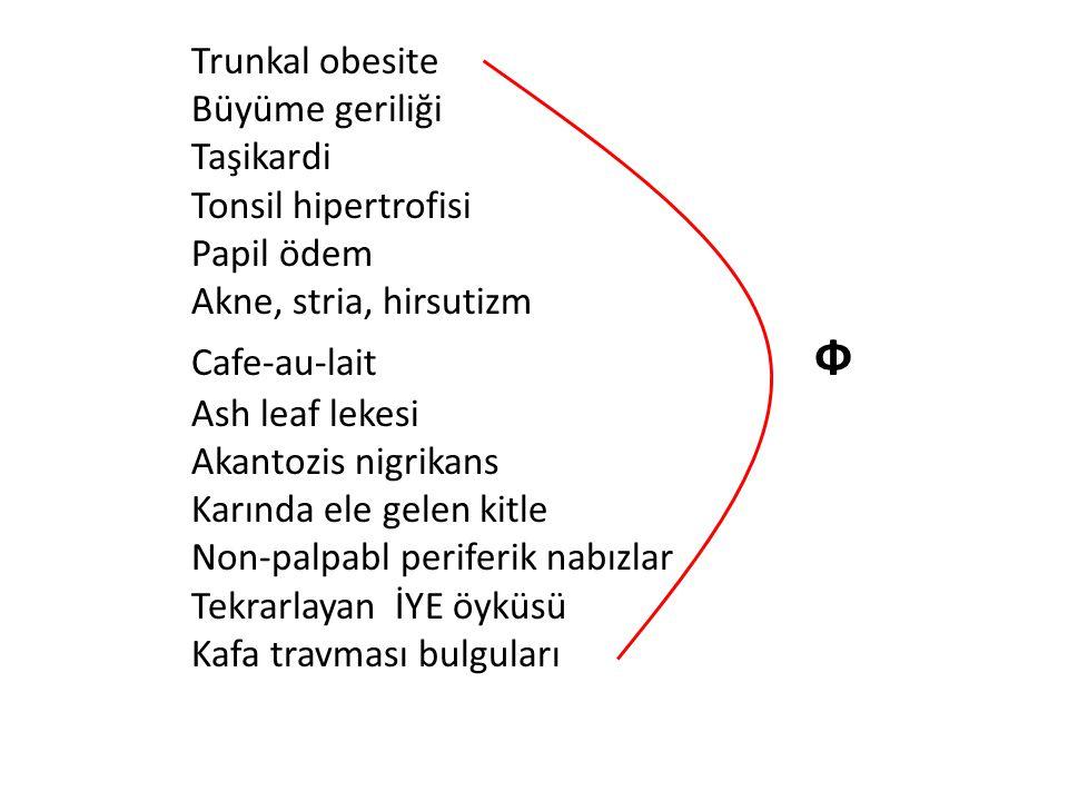 Trunkal obesite Büyüme geriliği Taşikardi Tonsil hipertrofisi Papil ödem Akne, stria, hirsutizm Cafe-au-lait Ф Ash leaf lekesi Akantozis nigrikans Kar