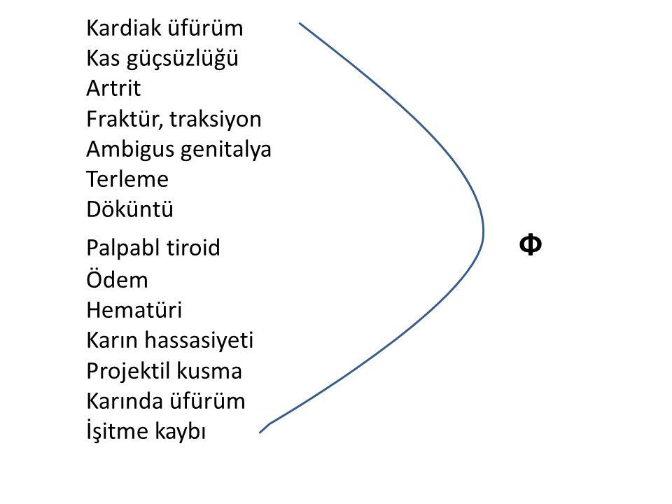 LABORATUAR: ● Lökosit: 8050/mm3 Hb: 14.8 g/dl Hct:%41 Plt: 399.000/mm3 ● CRP (-) ● Tam İdrar Tahlili: pH: 5.5, dansite: 1015, eritrosit(-), glukoz(-), protein(-), bilirubin(-), ürobilinojen(N), sedimentte özellik yok