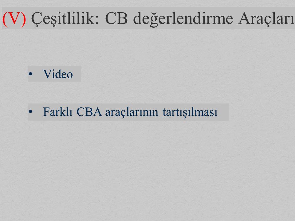 (V) Çeşitlilik: CB değerlendirme Araçları Video Farklı CBA araçlarının tartışılması