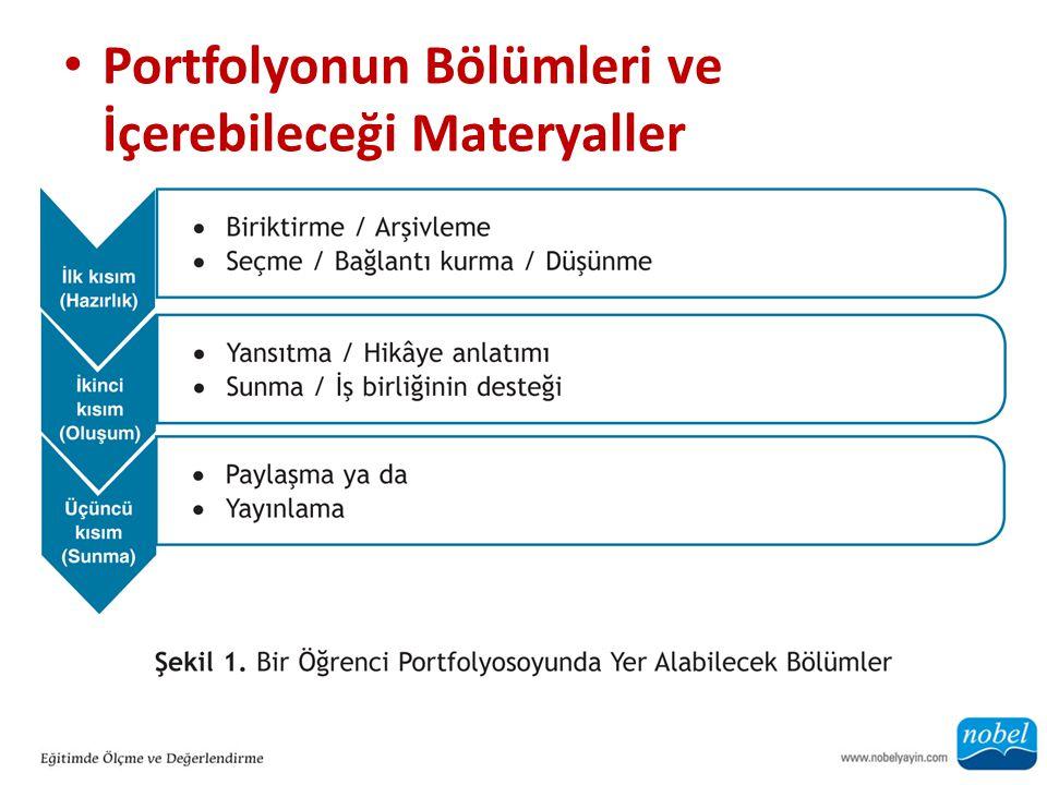 Portfolyonun Bölümleri ve İçerebileceği Materyaller