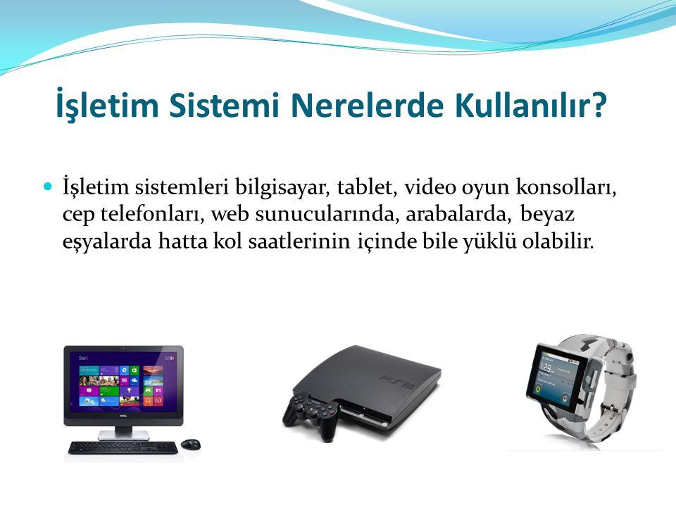 İşletim Sistemi Nerelerde Kullanılır? İşletim sistemleri bilgisayar, tablet, video oyun konsolları, cep telefonları, web sunucularında, arabalarda, be