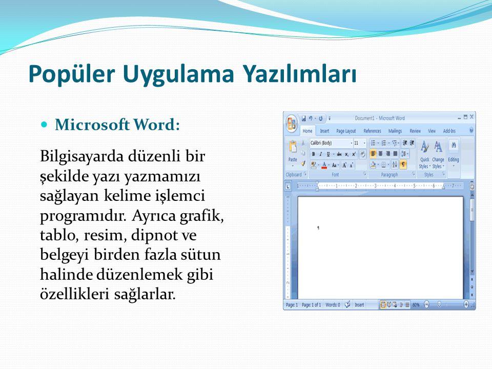 Popüler Uygulama Yazılımları Microsoft Word: Bilgisayarda düzenli bir şekilde yazı yazmamızı sağlayan kelime işlemci programıdır. Ayrıca grafik, tablo
