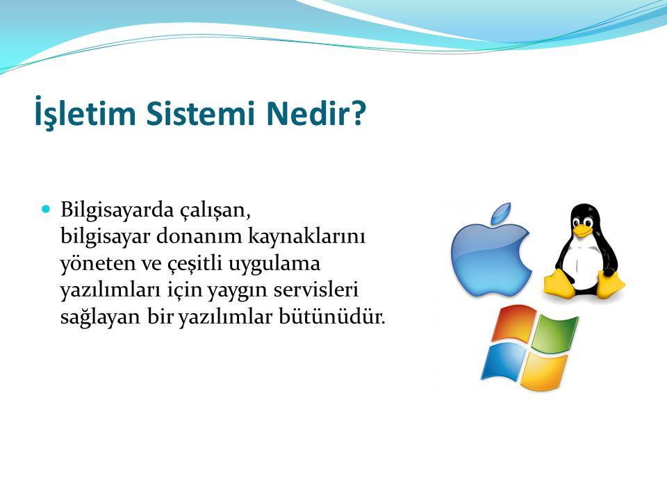 İşletim Sisteminin Görevleri Merkezi işlem birimini ayrı işlere yönlendirmek ve yönetmek.