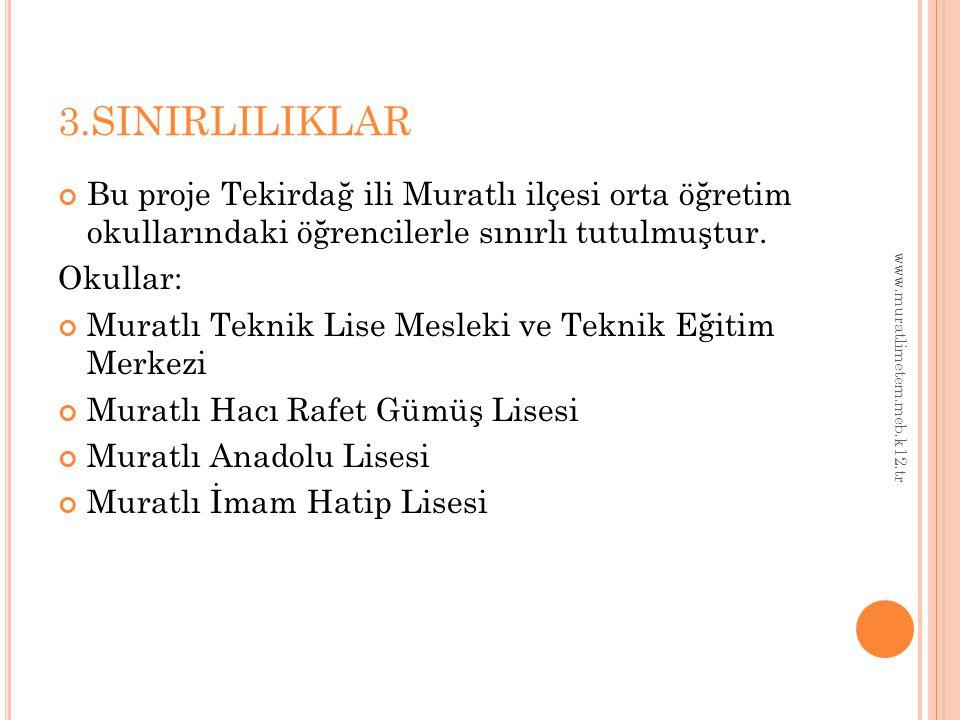 3.SINIRLILIKLAR Bu proje Tekirdağ ili Muratlı ilçesi orta öğretim okullarındaki öğrencilerle sınırlı tutulmuştur.