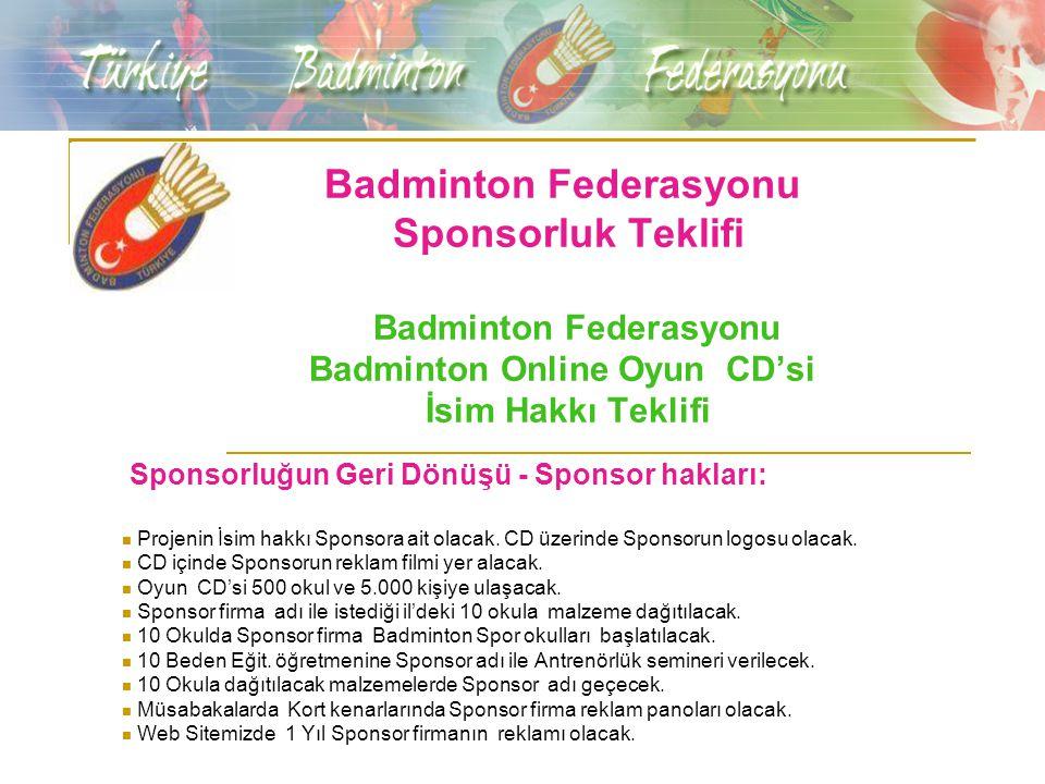 Badminton Federasyonu Sponsorluk Teklifi Badminton Federasyonu Badminton Online Oyun CD'si İsim Hakkı Teklifi Sponsorluğun Geri Dönüşü - Sponsor hakla