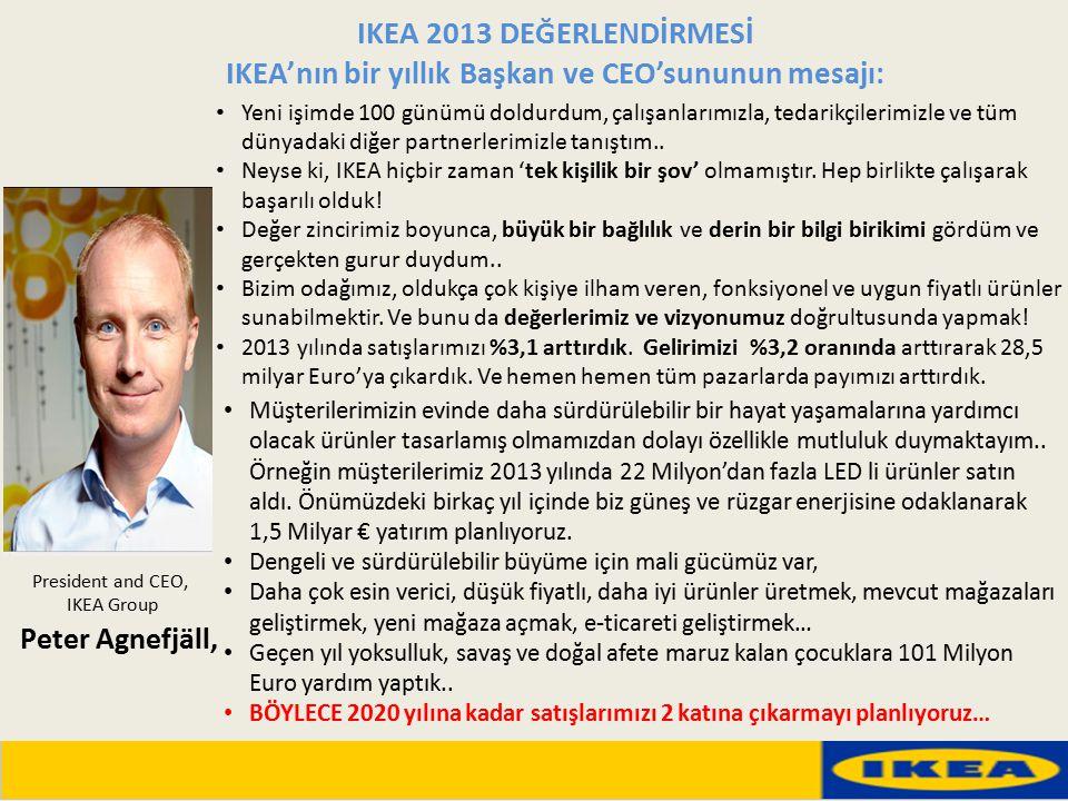 President and CEO, IKEA Group IKEA 2013 DEĞERLENDİRMESİ IKEA'nın bir yıllık Başkan ve CEO'sununun mesajı: Yeni işimde 100 günümü doldurdum, çalışanlar