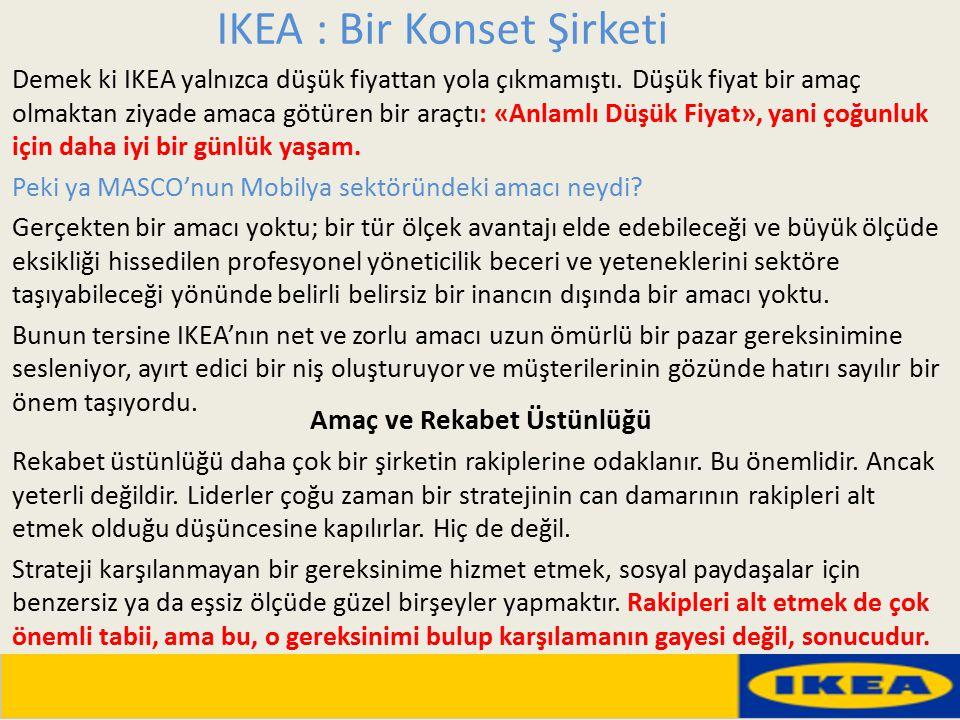 IKEA : Bir Konset Şirketi Demek ki IKEA yalnızca düşük fiyattan yola çıkmamıştı. Düşük fiyat bir amaç olmaktan ziyade amaca götüren bir araçtı: «Anlam