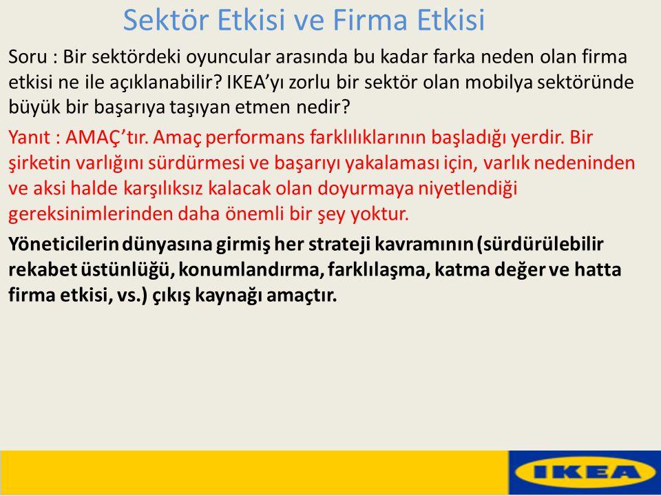 Sektör Etkisi ve Firma Etkisi Soru : Bir sektördeki oyuncular arasında bu kadar farka neden olan firma etkisi ne ile açıklanabilir? IKEA'yı zorlu bir