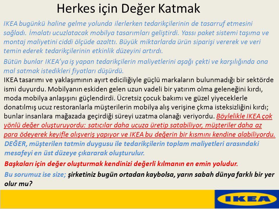 Herkes için Değer Katmak IKEA bugünkü haline gelme yolunda ilerlerken tedarikçilerinin de tasarruf etmesini sağladı. İmalatı ucuzlatacak mobilya tasar