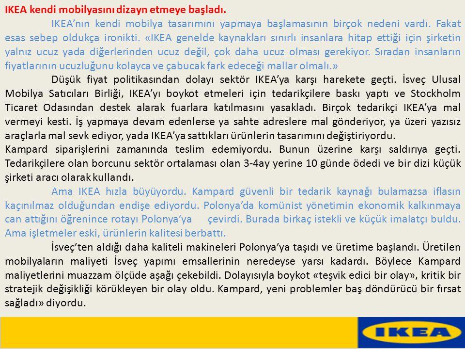 IKEA kendi mobilyasını dizayn etmeye başladı. IKEA'nın kendi mobilya tasarımını yapmaya başlamasının birçok nedeni vardı. Fakat esas sebep oldukça iro