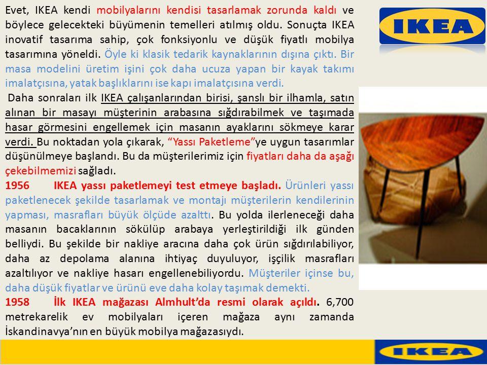 Evet, IKEA kendi mobilyalarını kendisi tasarlamak zorunda kaldı ve böylece gelecekteki büyümenin temelleri atılmış oldu. Sonuçta IKEA inovatif tasarım